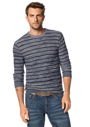 Пуловер JOHN DEVIN. Цвет: зеленый/белый в полоску, красный/белый в полоску, темно-синий/белый в полоску