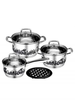 Набор кухонной посуды (7 пр.) CALVE. Цвет: серый (стальной, черный)