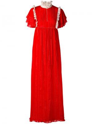 Платье макси с оборками Manoush. Цвет: красный