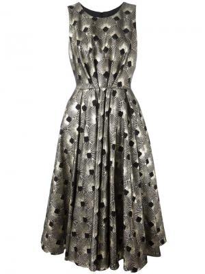 Металлизированное платье с узором из вееров Ultràchic. Цвет: чёрный