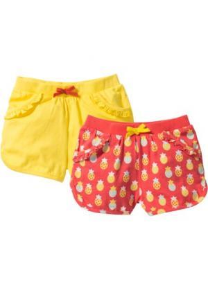 Трикотажные шорты (2 шт.) (омаровый с рисунком + желтый) bonprix. Цвет: омаровый с рисунком + желтый