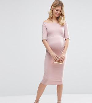 ASOS Maternity Платье для беременных с укороченными рукавами PETITE. Цвет: розовый