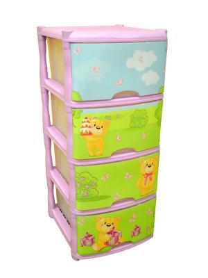 Детский комод для детской комнаты Bears Tutti 4 ящика Little Angel. Цвет: сиреневый