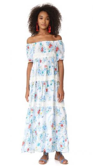 Макси-платье Eden Garden с открытыми плечами Christophe Sauvat Collection. Цвет: голубой