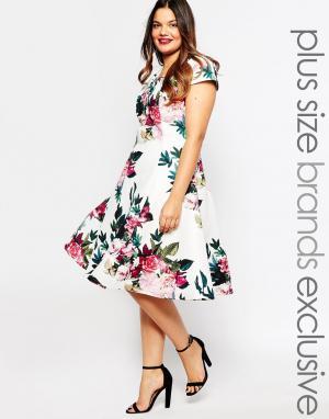 Truly You Платье миди для выпускного с цветочным принтом. Цвет: мульти