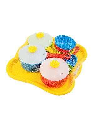 Набор посуды столовый Ромашка 19 эл. ТИГРЕС. Цвет: желтый, синий, зеленый, красный