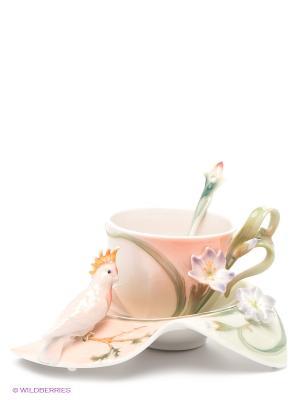 Чайная пара Попугай Какаду Pavone. Цвет: персиковый, зеленый