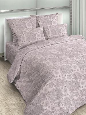 Комплект постельного белья, 2,0-сп, бязь, пододеяльник на молнии Letto. Цвет: серый, фиолетовый