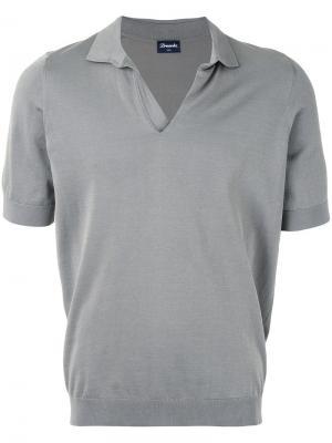 Вязаная рубашка-поло Drumohr. Цвет: серый