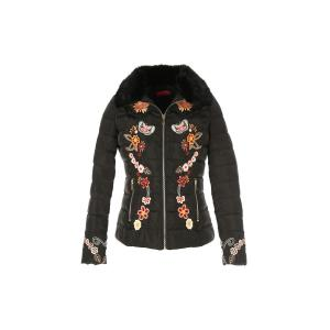 Куртка стеганая короткая с вышивкой TAFFETAS от DERHY RENE. Цвет: охра,черный