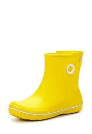 Резиновые полусапоги Crocs. Цвет: желтый