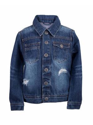 Куртка джинсовая Button Blue. Цвет: темно-синий