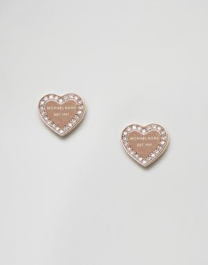 Michael Kors Золотисто-розовые серьги-гвоздики в форме сердца. Цвет: золотой