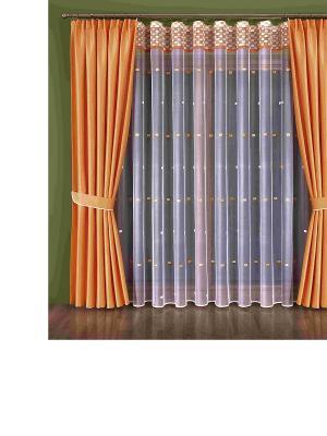 Комплект штор Wisan. Цвет: светло-оранжевый, белый