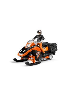 Снегоход и фигурка водителя с аксессуарами Bruder. Цвет: оранжевый, черный