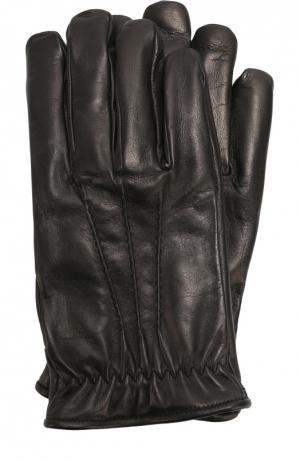 Кожаные перчатки с подкладкой из кашемира Brioni. Цвет: черный