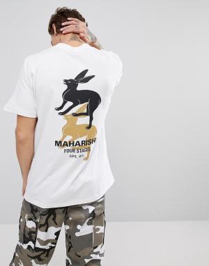 Maharishi Белая футболка с принтом на спине. Цвет: белый