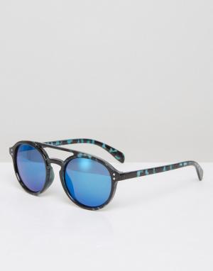 7X Синие круглые солнцезащитные очки. Цвет: синий