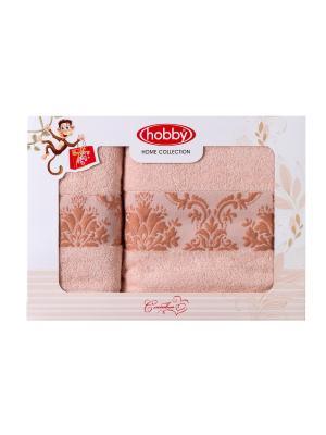 Махровое полотенце в коробке 50x90+70x140 RUZANNA ,персиковое,100% хлопок HOBBY HOME COLLECTION. Цвет: персиковый