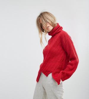 Oneon Асимметричный вязаный джемпер с высоким воротником Hand. Цвет: красный