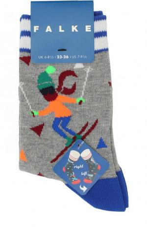 Носки с принтом Falke. Цвет: серый