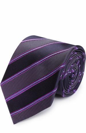 Шелковый галстук в полоску BOSS. Цвет: фиолетовый