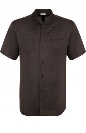 Рубашка с короткими рукавами из смеси шелка и хлопка Tomas Maier. Цвет: темно-зеленый
