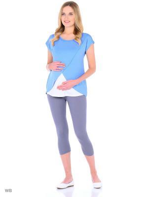Блузка для беременных и кормящих Hunny Mammy. Цвет: голубой, белый