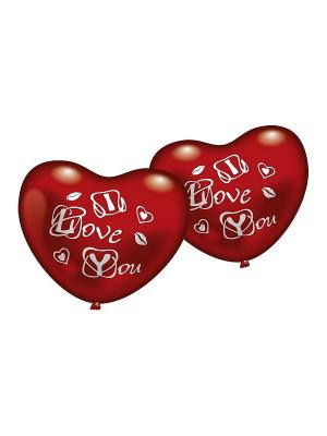 5 фигурных шариков-сердец Я люблю тебя Everts. Цвет: красный
