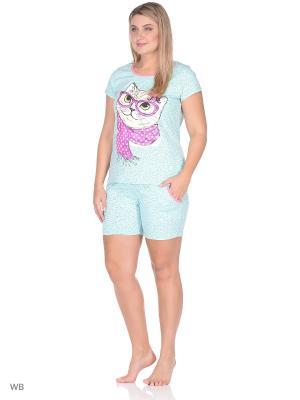 Пижама Flip. Цвет: светло-голубой, коралловый, светло-зеленый