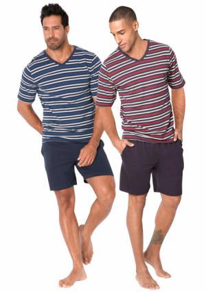 Пижама с шортами, 2 штуки LE JOGGER. Цвет: красный/черный в полоску+синий/темно-синий в полоску