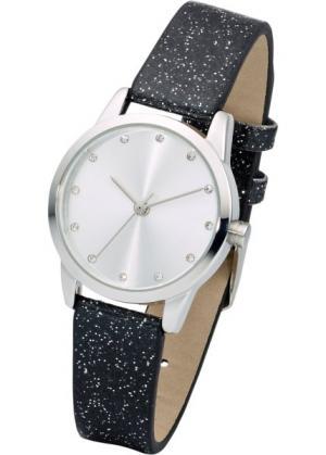 Часы на сверкающем браслете (черный) bonprix. Цвет: черный