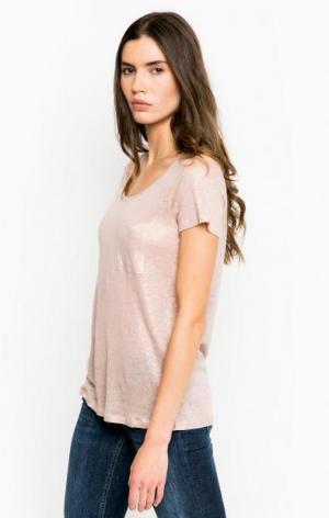 Льняная футболка с карманом Mexx. Цвет: бежевый