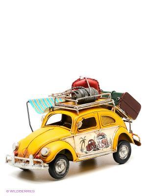 Модель Ретро Автомобиль с фоторамкой и копилкой  4х7см PLATINUM quality. Цвет: желтый