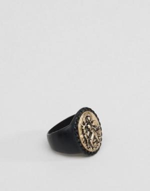 Icon Brand Черное массивное кольцо-печатка. Цвет: черный