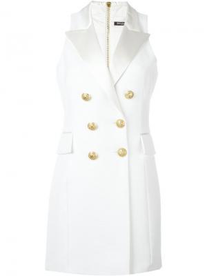 Платье-смокинг без рукавов Balmain. Цвет: белый