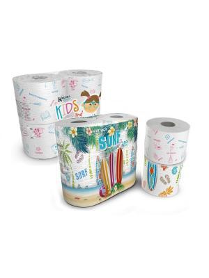 Набор из туалетной бумаги Kartika Collection Edu и Surf, 3-х сл, 8 рул/200 листов World Cart. Цвет: белый