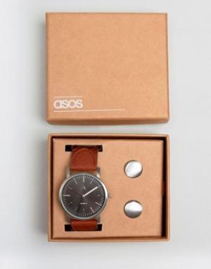 ASOS Набор с часами и запонками. Цвет: серебряный