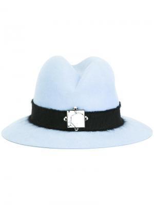 Шляпа-федора с поделочным камнем Eshvi. Цвет: синий