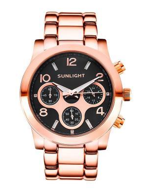 Часы наручные Sunlight. Цвет: светло-оранжевый, золотистый