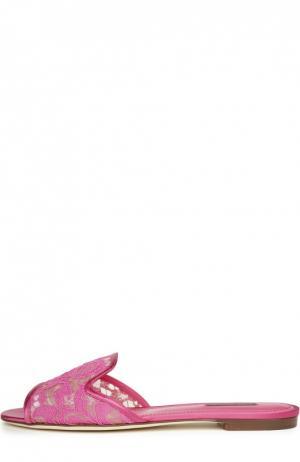 Кружевные шлепанцы Bianca Dolce & Gabbana. Цвет: фуксия
