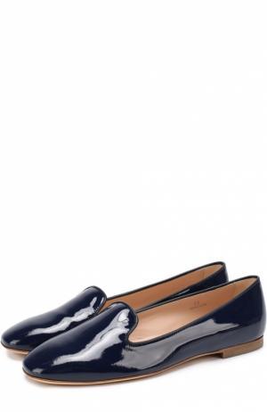 Лаковые слиперы на низком каблуке Tod's. Цвет: синий