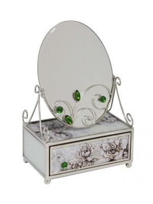 Зеркало со шкатулкой  Благородный изумруд JARDIN D'ETE. Цвет: серый, белый, зеленый