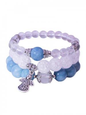 Комплект браслетов из натурального небесного агата, сахарного кварца и горного хрусталя Магазин. Цвет: синий,лазурный,молочный,прозрачный,белый