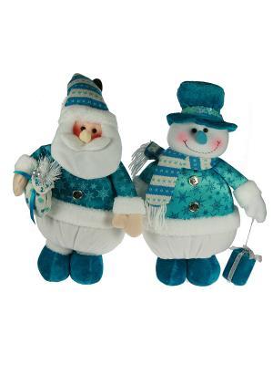 Новогодний сувенир Дед Мороз/Снеговик Русские подарки. Цвет: белый, голубой