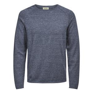 Пуловер из плотного трикотажа с круглым вырезом JACK & JONES. Цвет: бежевый экрю,зеленый хаки,серый меланж,темно-серый,черный