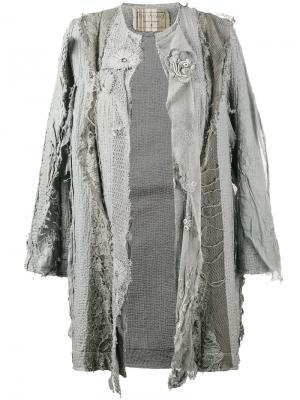 Пальто с вышивкой и потертой отделкой By Walid. Цвет: серый