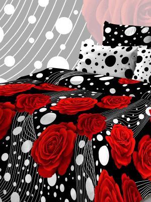 Комплект постельного белья Василиса из бязи Евро. Цвет: черный, белый, красный