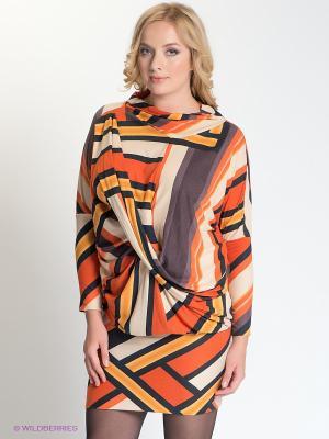 Платье МадаМ Т. Цвет: оранжевый, желтый, черный, бежевый