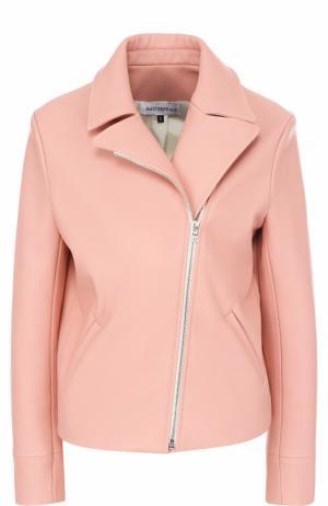 Однотонная кожаная куртка с косой молнией Masterpeace. Цвет: розовый